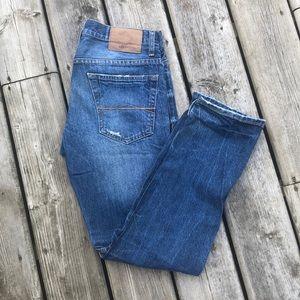 Aeropostale Bowery Slim Straight Distressed Jeans